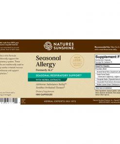 Nature's Sunshine Seasonal Allergy Label