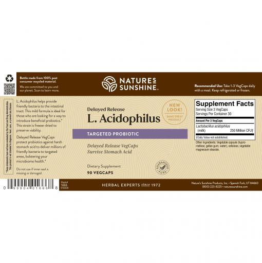 Nature's Sunshine L.Acidophilus Label